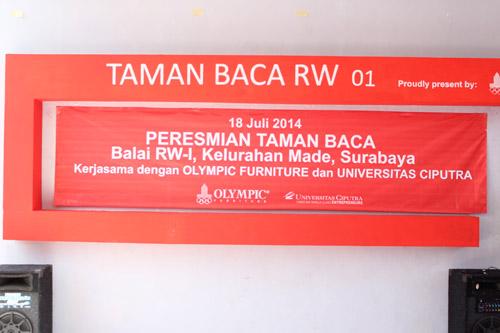 sign peresmian taman bacaan kelurahan made